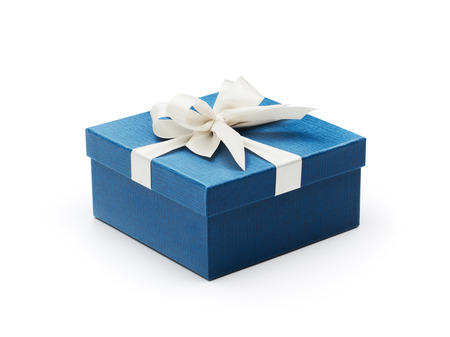 Blue gift box with white bow isolated on white