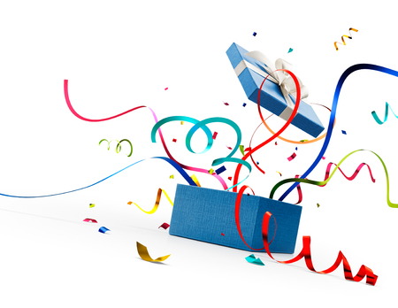 Ribbon and confetti popping out from blue gift box isolated on white Standard-Bild