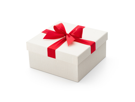 etch: White gift box with red bow isolated on white background - Clipping path included Stock Photo