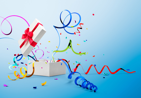 popping out: Ribbon and confetti popping out from gift box over blue background
