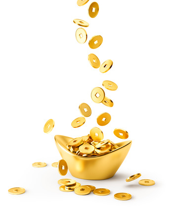 gold ingot: Gold coins dropping on gold sycee ( yuanbao ) isolated on white background Stock Photo