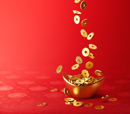 chinese festival: Gold coins dropping on gold sycee  yuanbao  - red chinese fabric with oriental motifs background