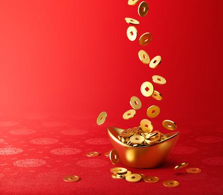 Gold-Münzen fallen auf Gold sycee Yuanbao - rote chinesische Gewebe mit orientalischen Motiven Hintergrund Standard-Bild