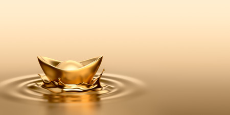 Gold Sycee Yuanbao drop on liquid gold Stock Photo