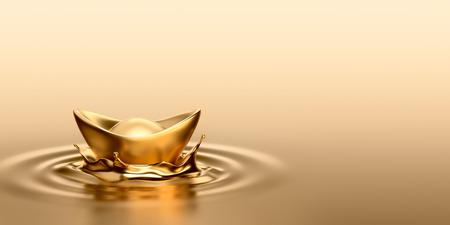 Gold Sycee Yuanbao drop on liquid gold Stockfoto