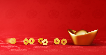 Gold coins rolling towards gold sycee ( yuanbao ) - red chinese fabric with oriental motifs background 写真素材