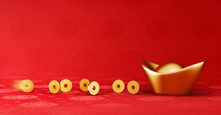 Gouden munten rollen naar goud sycee (Yuanbao) - rode Chinese stof met oosterse motieven achtergrond