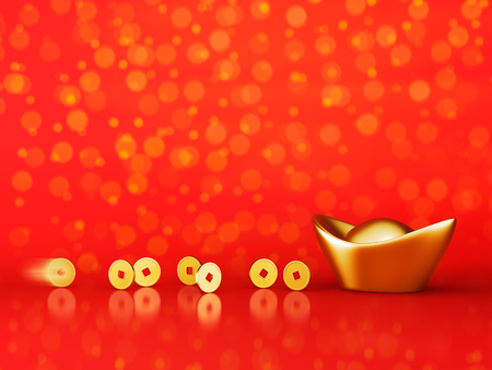 Gold coins rolling towards gold sycee ( yuanbao ) over red background