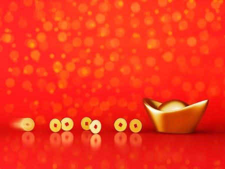 Gouden munten rollen naar goud sycee (yuanbao) op rode achtergrond