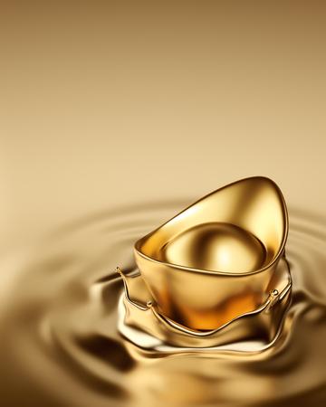 Gold Sycee (Yuanbao) drop on liquid gold Archivio Fotografico
