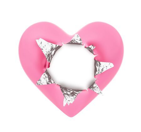 Heart shape foil wrapper- Hole ripped
