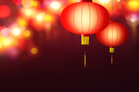 Chinese New Year - Hanging Chinese lanterns