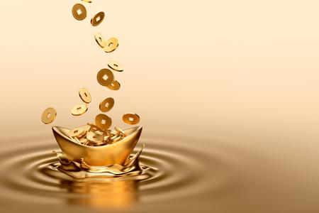 Gold sycee (Yuanbao) en gouden munten te laten vallen op vloeibaar goud Stockfoto