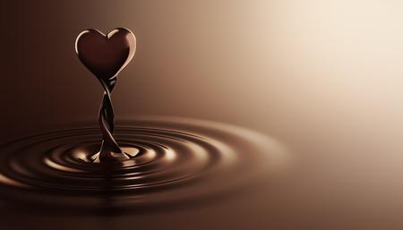 Heart shape chocolate rising from chocolate ripples Archivio Fotografico