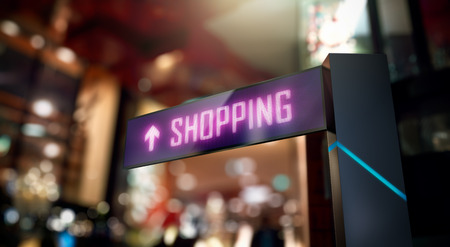 LED Display - Shopping Center direction sign Stock Photo
