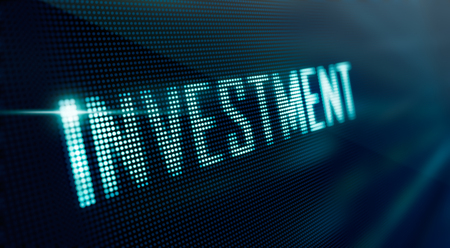 investment concept: LED Display - Investment, business concept Stock Photo