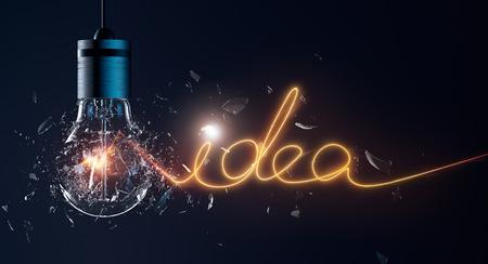 filament: Exploding light bulb with idea word filament