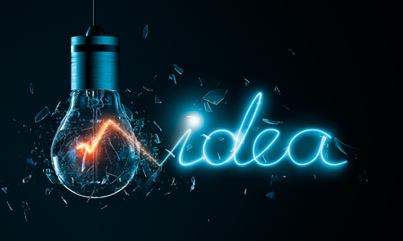 Exploding light bulb with idea word filament Banco de Imagens - 56765304