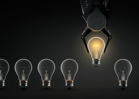 Claw machine lifting glowing light bulb Zdjęcie Seryjne - 59690439