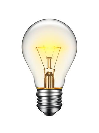 Zářící žárovka na bílém pozadí Reklamní fotografie