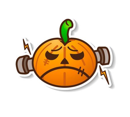 Halloween Pumpkin - Cute Frankenstein Illustration