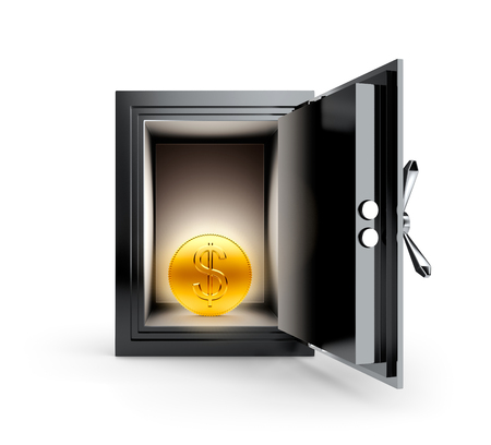 coin box: Gold coin with dollar sign in the safe box