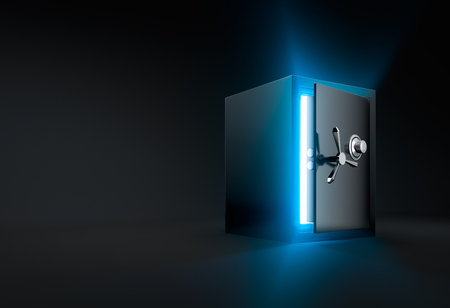 ray of light: Ray of light shining through an opened safe box