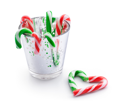 peppermint candy: Christmas peppermint candy canes isolated on white background