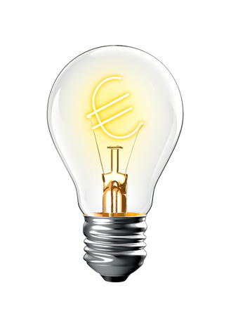 Glowing Euro sign in light bulb isolated on white background 版權商用圖片