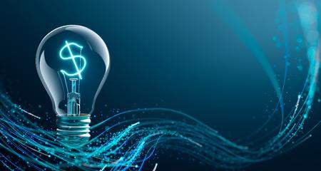 電球で光るドル記号 写真素材