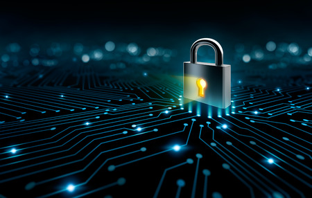 Lock on the converging point on a circuit, security concept Stockfoto
