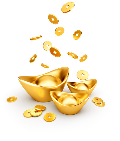 Gold coins dropping on gold sycee ( yuanbao ) isolated on white background, Chinese New Year Standard-Bild