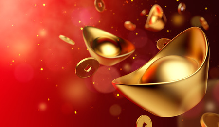 Gold coins and gold sycee ( yuanbao ) on red background, Chinese New Year Stock Photo