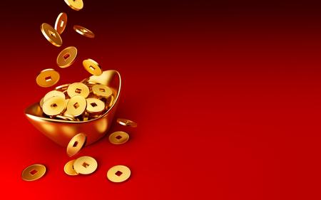 Monete d'oro che cadono su oro sycee (yuanbao) su sfondo rosso, Capodanno cinese