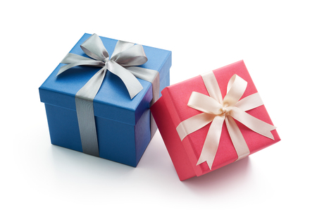 blue gift box: Blue and pink gift box with ribbon isolated on white background - Clipping path included  Stock Photo