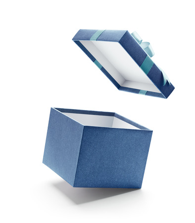 Blue open gift box isolated on white background - Clipping path included