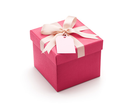 Pink gift box with white bow isolated on white background - Clipping path included Stok Fotoğraf - 70323960