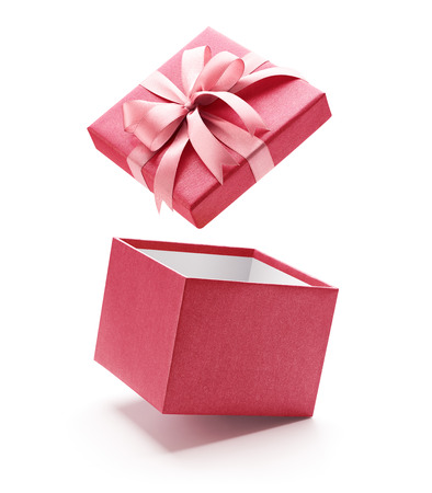 Roze open giftdoos die op witte achtergrond wordt geïsoleerd - Knippend inbegrepen weg Stockfoto