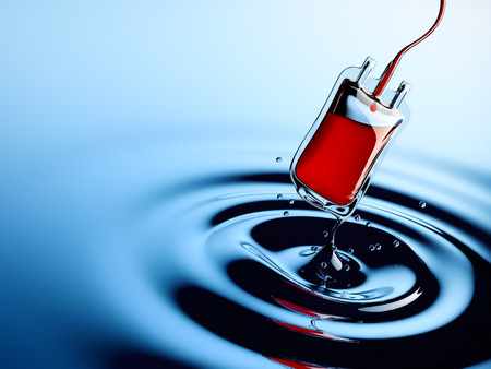 Water drop blending into a blood bag Stock Photo
