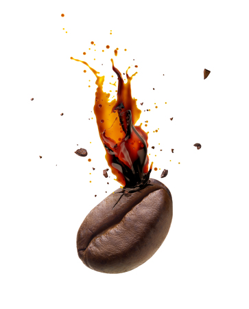 grano de cafe: Coffee bursting out from coffee bean isolated on white background