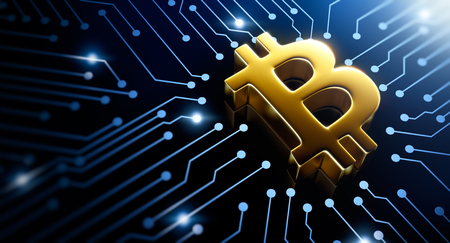 Bitcoin symbol on circuit converging point