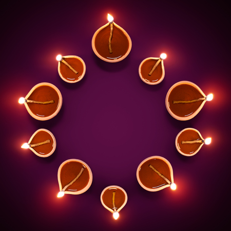 Happy Diwali - Diya lamps in a circle formation