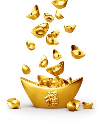 Chinese gouden sycee (yuanbao) die op witte achtergrond wordt geïsoleerd Stockfoto