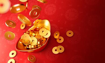 Yuanbao - Gouden munten laten vallen op Chinees goud sycee