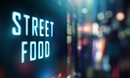 LED Display - Street Food signage Stock Photo