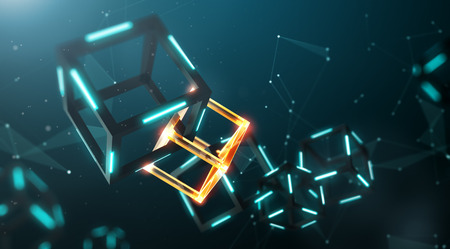 Blockchain technology with abstract background