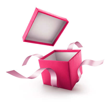 Pink open gift box with ribbon isolated on white background Standard-Bild
