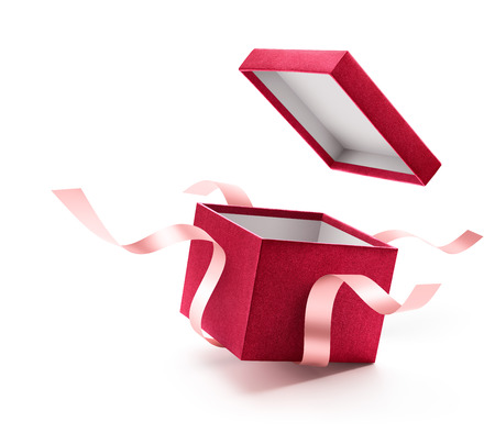Red open gift box with ribbon isolated on white background Imagens