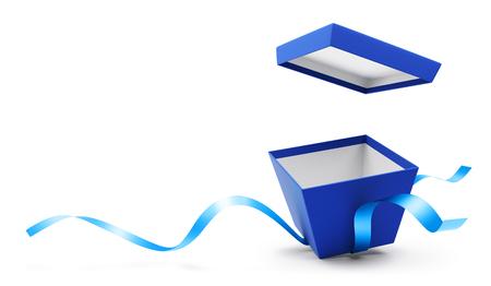 Blauwe open giftdoos met lint dat op witte achtergrond wordt geïsoleerd