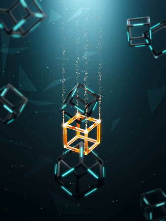 Blockchain technology with abstract background Фото со стока - 92559024